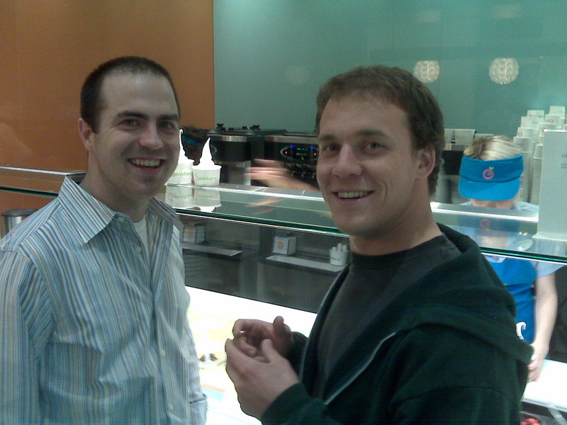 At Pinkberry w/Bobby & Justin